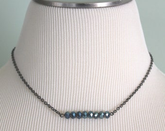 Layering Necklace, Beaded Bar Necklace, Blue Green Jewelry, Beaded Necklace, Bar Necklace, Crystal Necklace, 16 to 18 chain, Made in Ohio