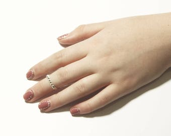 Knuckle square sterling silver thin midi ring, pinky minimalist kabbalah jewish band, decorated with handmade texture.