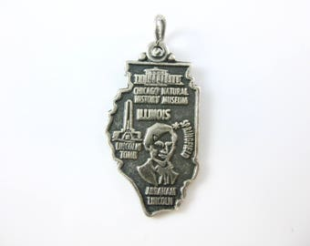 Vintage Sterling Silver Illinois State Cut Out Travelers Charm