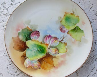 Gooseberries Hand Painted Plate Artist Signed