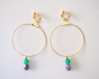 Iorite & Green Onyx Earrings with Plated Metal Big Hoop in Gold, Clip On/Hooks/Studs, Talisman, Amulet, Good Luck Charm, Hope