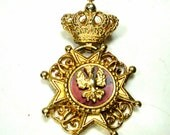 CORO Signed Medieval Royal Crown PIN,  Dangling IRON Cross & Germanic Eagle, Gold w Red Enamel Crest, Crusader Brooch, 1960s Thrones Game