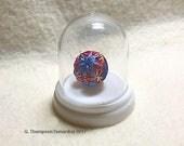 Bitsy - Miniature Temari in a Dome - Blue & Burgundy,  Sakasa Design