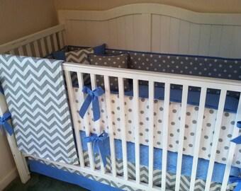 Baby Boy Crib Bedding Set Modern Blue Gray and White