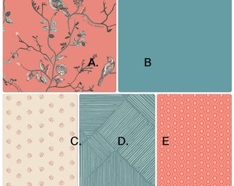 Baby Bedding Crib Set Coral Teal Bird and Floral