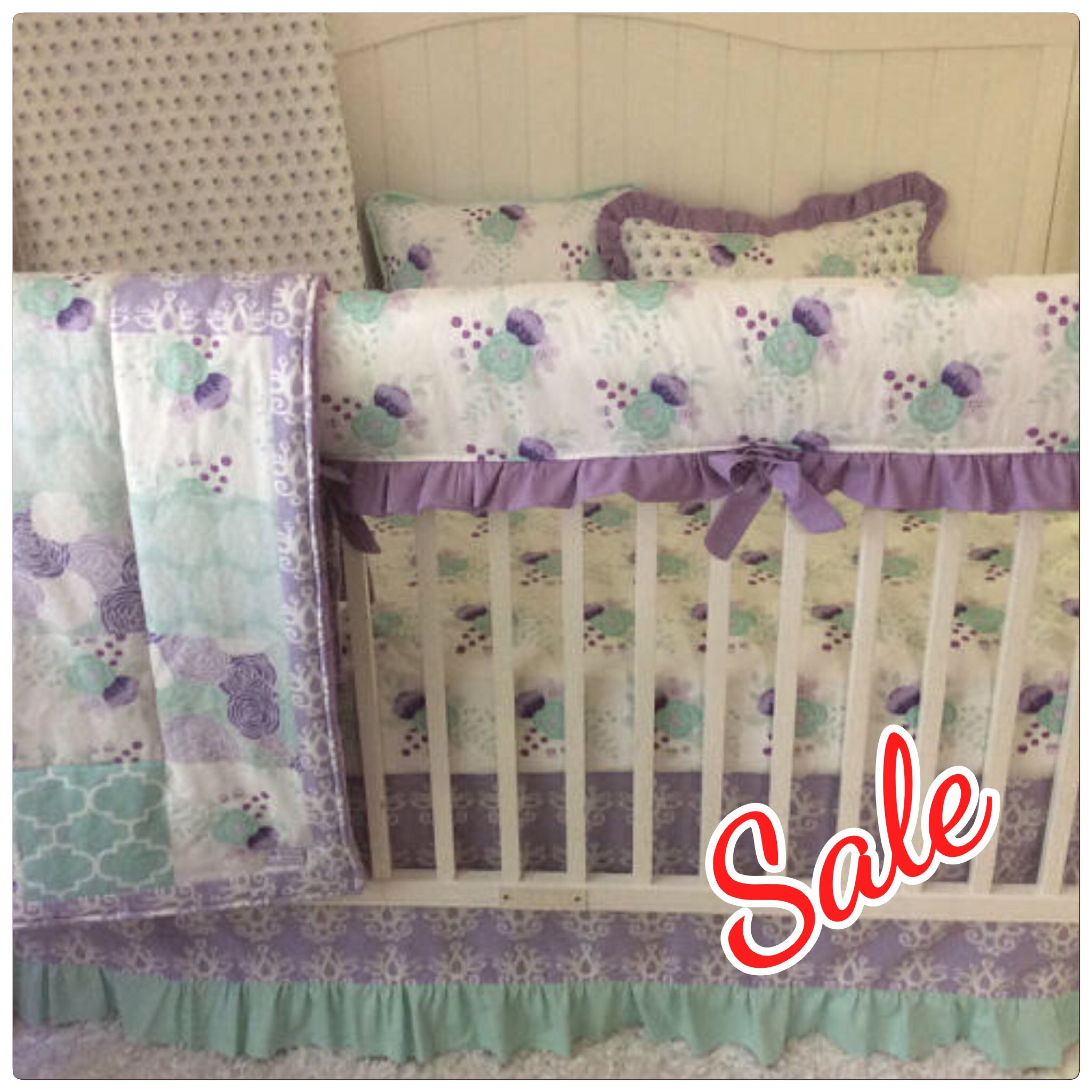 Baby Girl Crib Bedding In Purple Lavender Lilac And Aqua Mint
