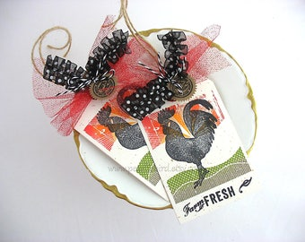 Farm Fresh Rooster Gift Tags~set of 2~Ranch~Country Kitchen~Homespun Farm~Chicken~Sunset~red~yellow~orange~green~black~Tuscany~Farmhouse