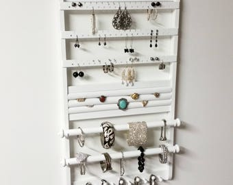 "Jewelry Holder Double Deluxe, ""You Choose Stain"", 25 x 14, White Earring Holder, Jewelry Organizer, Bracelet Holders, Necklace, Oak Wood"