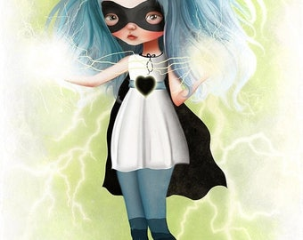 "50% Off SALE Fine Art Print - ""Juno"" - Large 11x17 or 13x19 Giclee Print by Jessica von Braun - Little Superhero Girl Green and Blue"