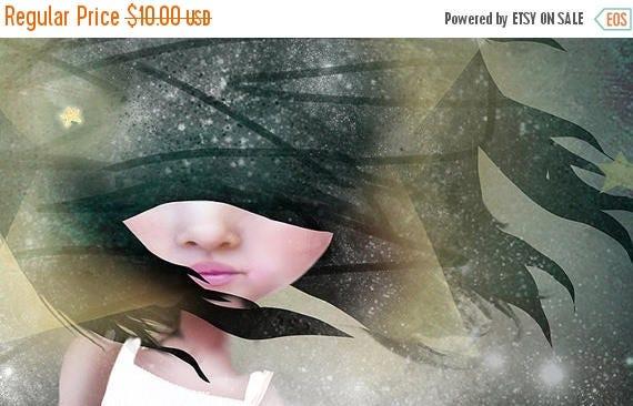 "50% Off SALE 5x7 Art Print ""Falling"" Girl Falling Star - Dark Space Fine art print by Jessica von Braun - night sky and stars - Nursery Art"