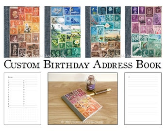 Custom Birthday & Address Book - Stamp Art Cover, you choose colours!