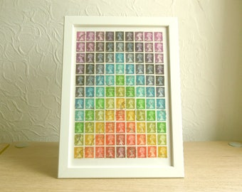 Rainbow Chakra Chevron - Framed British Postage Stamp Art