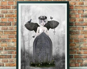 Dark Fantasy Art Print - Angel Print - Gothic Angel - Dark Angel - A3 Art Print - Fallen Angel