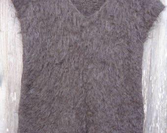 Gray sweater  vest. Hand knit vest . Hand spun knitted vest. Siberian vest.  Knitted vest.  Gray twins.