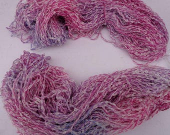 Hand dyed cotton bamboo bounce  yarn.  Natural  elderberry dye. Purple yarn. Pink yarn.Down to earth II.