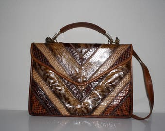 Varon purse with snake skin and leather