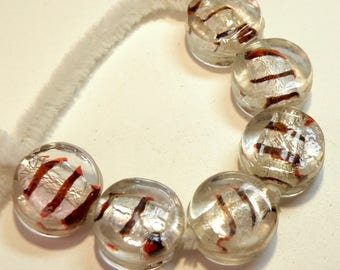 Six (6) Coin Glass Beads with Silver Foil and Oxblood Stripes --- Vintage -- NOS -- Lot 3O