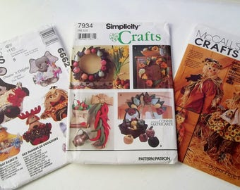 Home Decor Craft Lot McCall's 6662, Simplicity 7934, McCall's 6665 Sewing Patterns Treat Baskets, Stuffed Sculpture Wreaths, Scarecrow Dolls