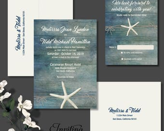 Starfish Wedding Invitation, Beach Wedding Invitation, Destination Wedding, Invitation, Tropical Wedding Invitation, Starfish Invite