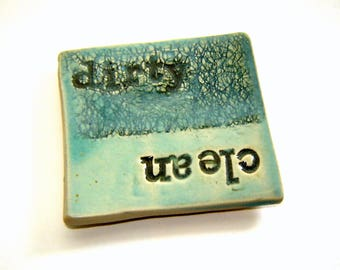 Dirty clean magnet - dishwasher magnet – handmade ceramics – turquoise pottery – housewarming gift – stocking stuffer – kitchen decor