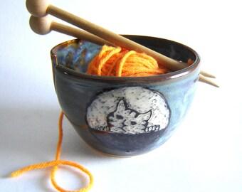 Cat Yarn Bowl – Tabby Cat Kitten – Knitting Tool – Ready to Ship - Denim Blue – Sgraffito Pottery – Stoneware Ceramics – Knitter Gift