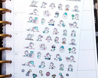 Unicorn Stickers - Daily Chores Stickers - To Do Stickers - Exercise Stickers - Daily Life Stickers - Planner Stickers