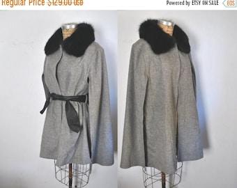 SALE Black Fox Cape / Gray Wool Poncho / wrap sweater jacket / S-L