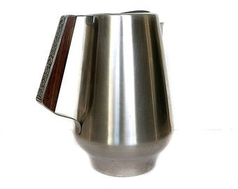 Stainless Steel Pitcher Interntional Dilido Pattern Wood Handle Made in Japan Vintage 1960s