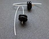 black onyx earrings in sterling silver. modern jewelry. made in Calgary. splurge