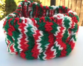 Candy Cane Kisses Children's Cable Knit Acrylic Yarn Headband 16.25 Inches