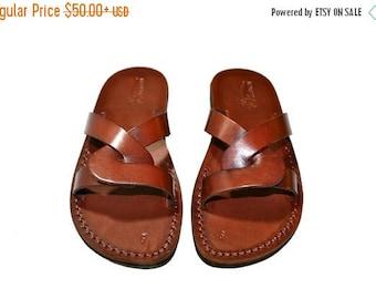 15% OFF Brown Tumble Leather Sandals For Men & Women Handmade Unisex Sandals, Flip Flop Sandals, Jesus Sandals, Genuine Leather Sandals
