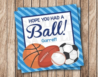 Personalized Printable Sports Party Tags, Printable Hope You Had a Ball Tags, Sports Birthday Party Favor Tags, Sports Balls Tags