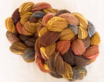 Shetland, Brown Shetland, Tussah silk, Hand dyed roving, fibre, fiber, Nuno, Dreadlocks, spinning wool, felting materials, felting projects