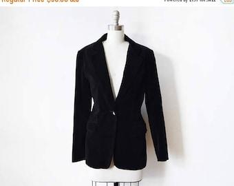20% OFF SALE black velvet blazer, vintage 1980s black blazer, 80s blazer, large women's blazer
