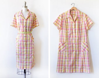 vintage 60s day dress, 1960s house dress, button up pink and yellow plaid day dress, 3x