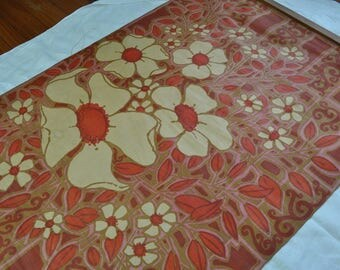 Vintage Waxed Linen Printed Textile Picture/Vintage 1960s/Mid Century Wall Hanging/Dorm Room Decor