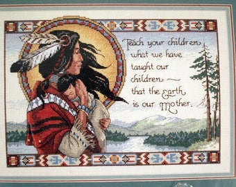 Cross Stitch Kit AMERICAN INDIAN Needlework Complete Kit by Dimensions #3808