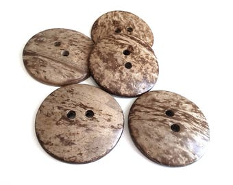 4 light brown large button 2 inch coconut button 5cm - Natural Wood and Eco Friendly button  #BC603J3