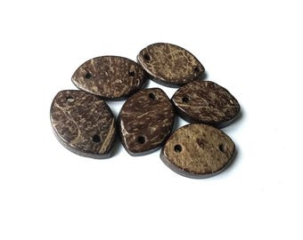 Coconut Rustic Donut Connector, 2 Hole, Brown, 27mm in diameter, Set of 6