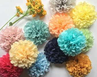 MINI POMS / custom colors / napkin tie ring holders / flower centerpiece wedding decorations / paper flower guest favor first birthday party