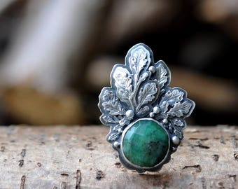 xX RESERVED Xx Sterling Silver Emerald Ring, Oxidised Sterling Silver leaf Ring, Rustic Gemstone Metalwork Ring