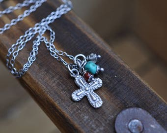 Sterling Cross Necklace, Oxidised, Sterling Silver Gemstone Charm Necklace, Crucifix Necklace, Turquoise Necklace