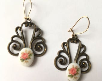 Vintage Dangle Scroll Earrings with White Milkglass Floral Transfer Canochons