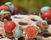 Reserve for Patrice-SO SOUTHWEST-Handmade Lampwork and Artisan Gold Bronze Bracelet