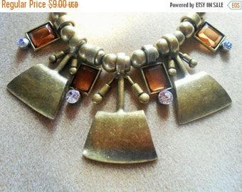 SALE Vintage Brass Tone Beads pendant Necklace, VCIM, Amber color type stones