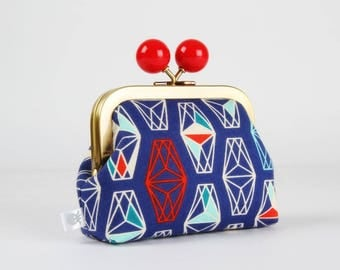 Metal frame coin purse with color bobble - Lively lanterns misty - Color dad / Cotton and Steel /  Lagoon / blue red turquoise