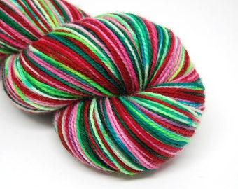 "Acoustic Sock Yarn - ""Nordic Holiday"" - Handpainted Superwash Merino - 400 Yards"