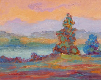 Small Original Landscape Painting, Soft Warm Colors, Water Media Art, Contemporary Art, Modern Painting, Small Art, Modern Wall Decor. 5 x 7