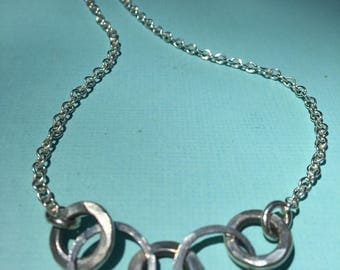 Fine Silver Infinity Necklace- Five Circle Link- Infinity Necklace- Sterling Silver Chain Necklace! Hill Tribe Silver