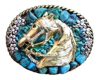 Turquoise Rhinestone Horse Belt Buckle